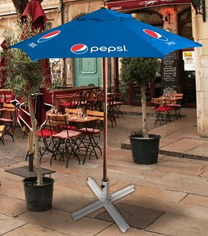 """Pepsi Blue""  7ft Wooden Patio Umbrella - Pepsi.....Please Login To see our very Special Pricing"