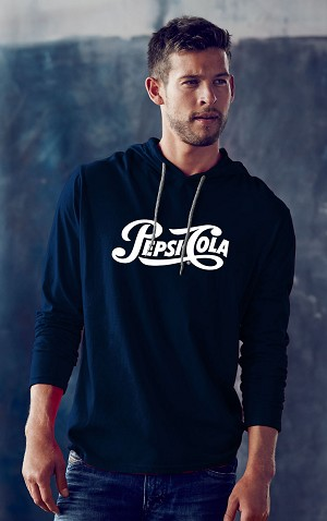 Men's New Designer Look Hooded Long Sleeve Heavyweight T-Shirt - Pepsi Cola