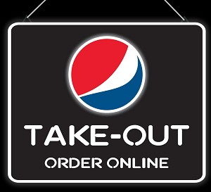 Pepsi Globe Neon Take-Out Order Online Sign
