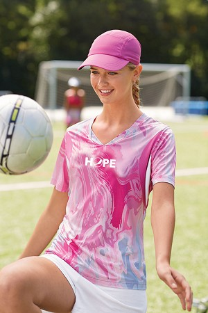 Ladies  Short-Sleeve V-Neck All Sport Sublimated Pink Swirl Jersey T-Shirt - HOPE